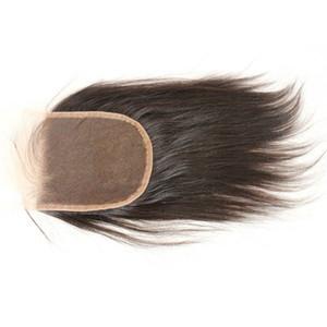 Chiusura brasiliana luce Yaki chiusura a buon mercato non trattata italiano Yaki chiusura 4x4 nodi candeggiati chiusura dei capelli del merletto svizzero