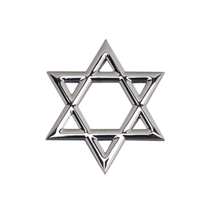 500 unids estrella de plata de David aleación de zinc Metal 3D Car Body Decorate Badge Emblem Sticker Auto Sticker Emblems Badges 60 * 55 mm