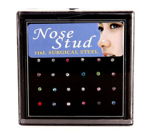 24pcs / Set Nose Bague Mode Body Bijoux Nez Stud Strass 316L Inoxydable Chirurgical Acier Piercing Cristal Stud AK107