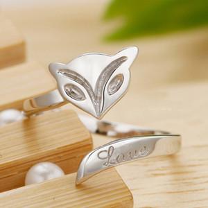 Amigos presentes 925 sterling silver fox rings para as mulheres moda ajustável fox rings atacado sexy fox rings para senhoras