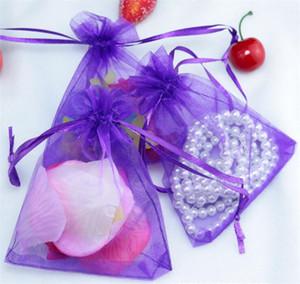 Les ventes chaudes ! 100 pcs sacs de bijoux Pouches pourpre avec sac à cordonnet Sac Organza Sacs d'emballage 4640