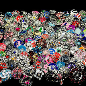 Großhandel 100 teile / los Bulk Lot Mix Styles Ingwer Mode 18mm Metall Strass DIY Snaps Button Snap Schmuck Marke Neue
