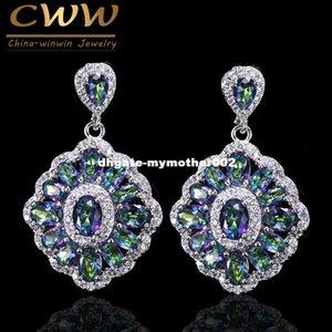 CWWZircons Marca de Luxo Mulheres De Cristal Jóias Gota Vintage Azul Rainbow Fire Mystical Brinco Com Pedras De Zircão CZ053