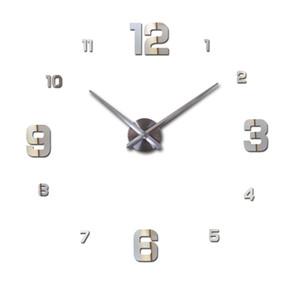 Gros-nouveau 2016 vente décor à la maison circulaire horloge murale moderne grand 3d diy acrylique miroir quartz autocollant horloges montre cadeau livraison gratuite