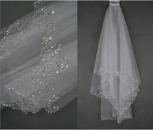 Voiles de mariage Voile de mariée Voile 2 couches à la main bord perlé Accessoires de mariée Voile de couleur blanc et ivoire en stock