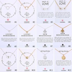 New dogeared colares com cartão de presente círculo pérolas ferradura bússola pingentes de flor de lótus corrente de prata de ouro para as mulheres moda jóias