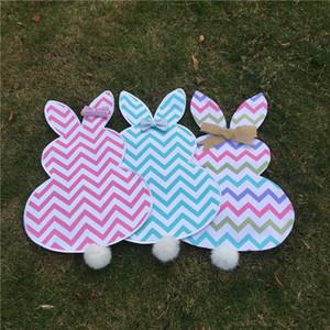 Multi-Chevron Easter Bunny Bandeira Lona Coelho Jardim Bandeira com Juta Bow Tie Páscoa Decoração de Casa Coelho Bonito Forma Bandeira Do Jardim DOM106447