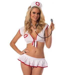 Toptan Seksi Hemşire Doktor Cosplay Üniforma Erotik Beyaz İç Seti Cadılar Bayramı Temalı Parti Kostüm Yaramaz Clubwear