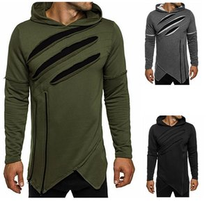 Hip Pop Laceration Hoodie Men Streetwear Style Long Sleeve Hooded Pullover Irregular Design Slim Fit Man Sports Hoodies Free Ship 2018