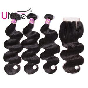Unice Hair 8A Virgin Body Wave Paquetes brasileños con cierre Extensiones de cabello humano Remy Tramas de cabello humano sin procesar con cierre al por mayor