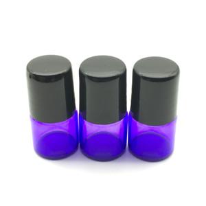 Mini bouteille vide en verre de parfum de petit pain de 1ml de rouleau bleu bouteille en métal de rouleau de rouleau bouteille témoin de bouteille d'huile essentielle