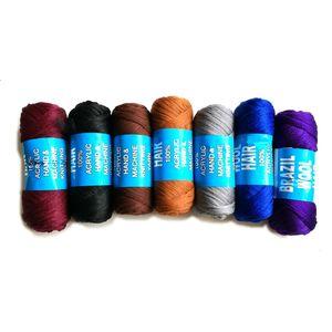 STOCK Nuevos 10 rollos / lote Cabello de lana brasileña 100% acrílico tejido a mano y máquina Hilo mezclado escala pelo 70Gr