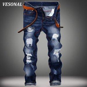 Atacado- Hip VESONAL d Buraco Magro Biker hop Ganhos Homens Calças Jeans Moda Vintage Casual Ripped Denim Mens calças pretas VE121