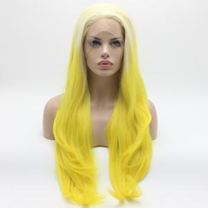 Iwona Hair Straight Extra Long Light Blonde Roig Golden Ombre Wig 22 # 613/3300 Pelucas delanteras de encaje sintético a prueba de calor atadas a media mano