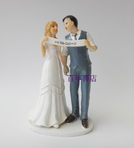 Resin handicrafts we married the bride and groom wedding cake Decor props decorations houses
