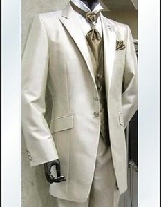 Wholesale- 2016 Custom Made Groom Tuxedos Best man Ivory Suit Wedding Groomsman Men Dinner Suits Bridegroom Dresses(Jacket+Pants+Tie+Vest)