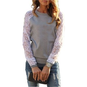 Atacado-t Camiseta 2016 Mulheres Antuna Hot-selling Lace Long-manga Loose O-pescoço Patchwork Mulheres T-Shirt das Mulheres Vestidos GZ143