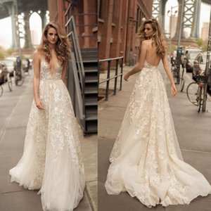Marfim Appliqued Vestidos De Casamento Rendas Profundo Decote Em V Vestido De Noiva Backless Trem Da Varredura A-line Vestido De Casamento Custom Made