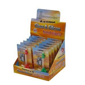 4 Farbe Silikon Skull Glaspfeife mit 5Pcs Screens Mini Rauchen Hand Pfeifen Tabak Zigarette Wasserpfeife Einzelhandel Verpackung