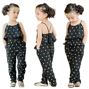 Wholesale- Summer 2016 Fashion Kids Baby Girls Summer Heart Pattern Jumpsuit Romper Trousers With Belt Outfits