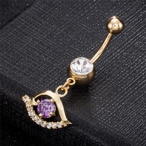 18 كيلو الذهب الأصفر مطلي زاوية البطن زر الدائري للنساء ثقب البطن ثقب السرة ثقب خواتم مجوهرات الجسم BR-245