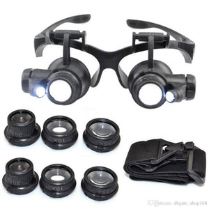 Hot 10X 15X 20X 25X magnifying Glass Double LED Lights Eye Glasses Lens Magnifier Loupe Jeweler Watch Repair Tools