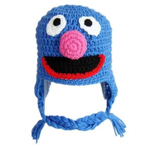 Mavi Grover Canavar Şapka, Yenilik El Yapımı Örgü Tığ Bebek Oğlan Kız Çerez Canavar Şapka, Bebek Yürüyor Fotoğraf Prop