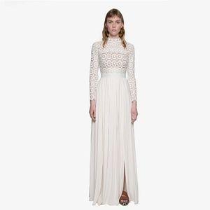 All'ingrosso-2017 nuovo arriva a maniche lunghe autoritratto in pizzo bianco donna lungo abito casual primavera pista designer abiti da festa maxi vestito
