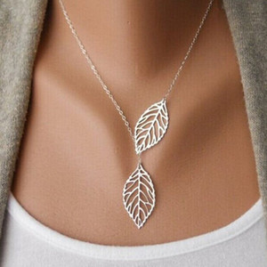 2017 New Gold And Sliver Two Leaf Pendenti Collana catena multi strato dichiarazione collane hollow leaf Donna regalo