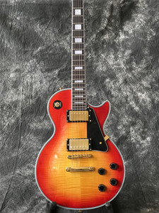 في الأوراق المالية - مخصص غيتار كهربائي في لون انفجار الكرز مع أعلى Flame Maple ، guitarra ، كل الألوان متوفرة ، ذات جودة عالية