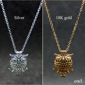 Mezclado Owl Bird Diseño Aleación Abalorio Jaula Fragancia Perfume Aceite esencial Difusor Collar de moda Colgante Joyas de perlas