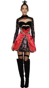 2016new alta qualidade Queen of Hearts traje Alice No País Das Maravilhas Cosplay Vestido de Pôquer Queen roupas Trajes de Halloween Para As Mulheres