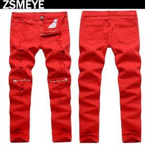 ZSMEYE jeans da uomo biker stile tr tric con zip nero bianco rosso vero inverno robin hombre jeans pantaloni spedizione gratuita