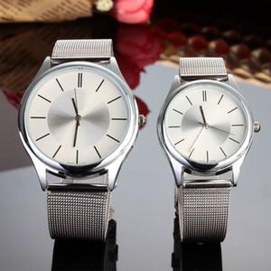 Mode Marque Femmes Hommes Lovers' argent en acier montre-bracelet de bande métallique de C01