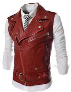 Wholesale- Leather Motorcycle Vest  Mens Black Leather Vest Red Waistcoat Steampunk Rock Slim Fit Zipper Sleeveless Jacket XXL