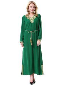 New Arrival Muslim Women Long Sleeved Kaftan Dress Islamic V Neck Evening Party Abaya Dress S-3XL