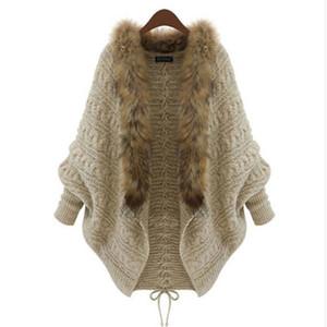 Wholesale-1 Piece Trendy Women Knitting Cardigan Csaual Clothinig High Quality Polyester  Hair Fur Collar Batwing Sleeve Autumn Coat