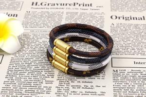 Imán de acero de titanio hebilla pulsera de cuero para Mujeres Hombres moda brazalete pulseras  brazaletes cuerda flores joyería al por mayor
