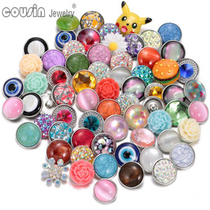 New Wholesale Mixed Pattern & Material Opal Acrylic Natural Stone Turquoise 18mm snap button jewelry For Snaps Jewelry