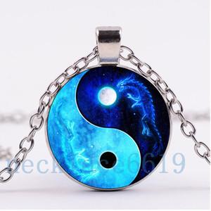 10pcs collana del drago di Yin Yang, regalo di Natale, regalo di compleanno, collana di vetro cabochon, argento / catena nera gioielli moda collana R-809