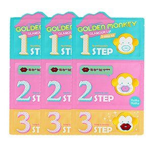Wholesale-HOLIKA HOLIKA Golden Monkey Glamour Lip 3step Kit 3pcs Korean cosmetics