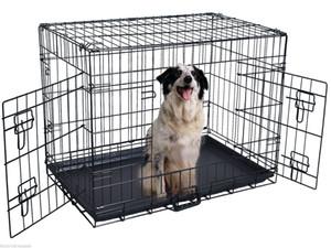 42 '' 2 porte Wire Folding Pet Crate Dog Cat Cage Valigia Kennel Box w / Tray