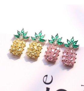 Pineapple Earrings Big Gemstone Crystal Sterling Silver Designer Earrings Female Ear Stud 925 Silver Needle Earrings Women Charm Ear Stud