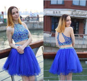 2021 Short Homecoming Dresses Jewel Crystal Beaded Two Pieces Sexy Sleeveless Royal Blue Tulle A-line Cheap Cocktail Dresses Party