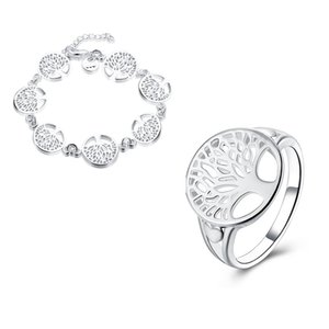 Charming Wisdom Tree Jewelry Fashion Argento placcato Round Tree of Life Bracciale Set di accessori da sposa
