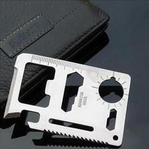 Multi Ferramentas 11 em 1 Multifuncional Ao Ar Livre Cartão de ferramenta de sobrevivência de Caça Camping Bolso cartão de crédito Militar faca 100 pcs