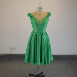 Yeni Stil Yeşil Tafta Gerçek örnek Çiçek V yaka PLİSE Kısa Gelinlik Modelleri Parti Elbise Custom Made