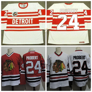 1996 Chicago Blackhawks 24 Bob Probert Rosso Bianco pullover del hokey Vintage Bob Probert Detroit Red Wings 1993 CCM 75 ° Jersey poco costosa