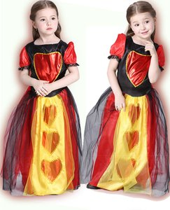 Alice au Pays des Merveilles Cosplay Costume Enfants Filles Reine Des Coeurs Robe Rouge Reine Enfants Halloween Patchwork Princesse Costume