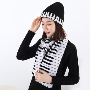 Free shipping fashion music notes piano jacquard warm knitted hat scarf sets.